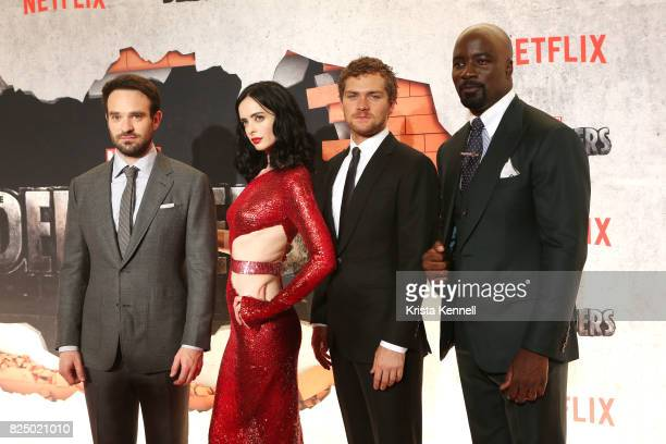 Charlie Cox Krysten Ritter Finn Jones and Mike Colter arrive to Marvel's The Defenders New York Premiere at Tribeca Performing Arts Center on July 31...