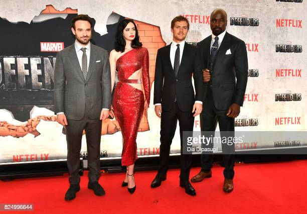 Charlie Cox Krysten Ritter Finn Jones and Mike Colter attend the Marvel's The Defenders New York Premiere at Tribeca Performing Arts Center on July...