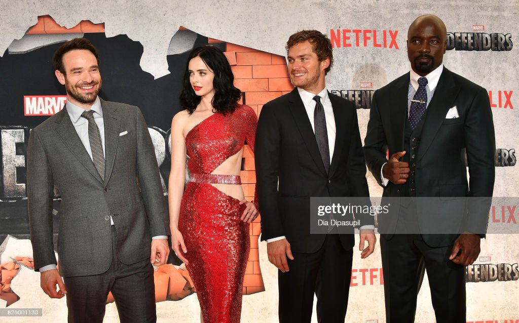 Charlie Cox, Krysten Ritter, Finn Jones, and Mike Colter attend the 'Marvel's The Defenders' New York Premiere at Tribeca Performing Arts Center on July 31, 2017 in New York City.