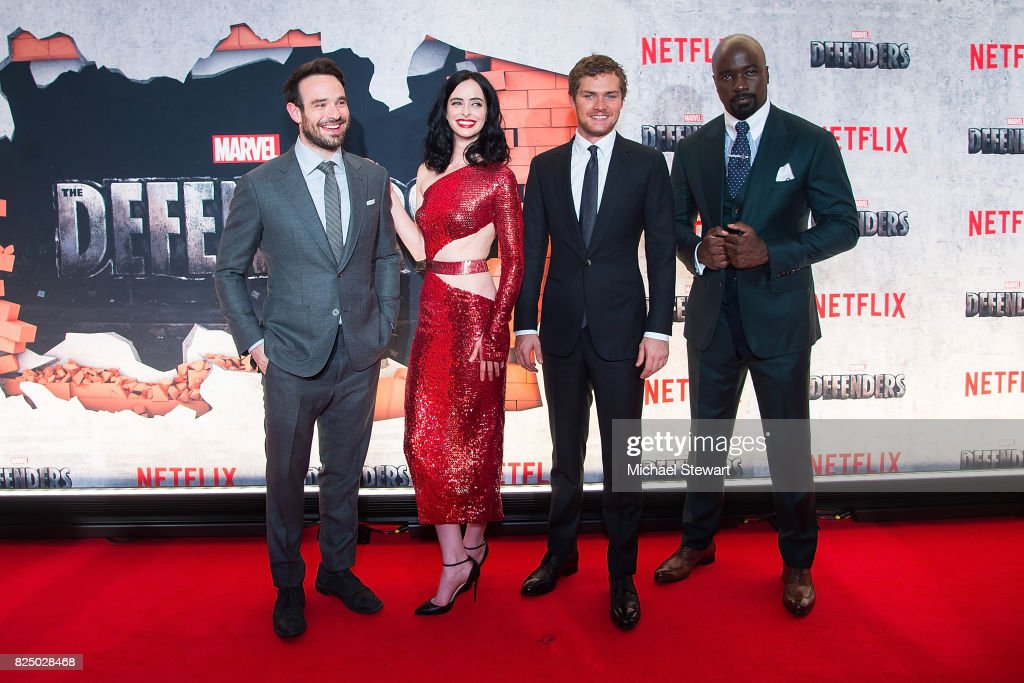 Charlie Cox, Krysten Ritter, Finn Jones and Mike Colter attend the 'Marvel's The Defenders' New York premiere at Tribeca Performing Arts Center on July 31, 2017 in New York City.