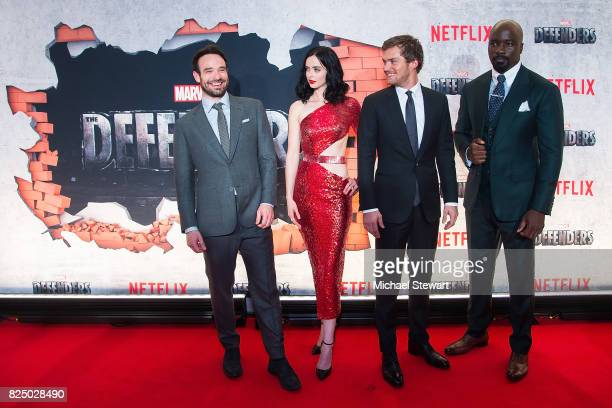 Charlie Cox, Krysten Ritter, Finn Jones and Mike Colter attend the 'Marvel's The Defenders' New York premiere at Tribeca Performing Arts Center on...