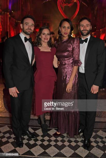 Charlie Cox Samantha Thomas Zawe Ashton and Eddie Arnold attend The Olivier Awards 2019 after party at The Natural History Museum on April 7 2019 in...