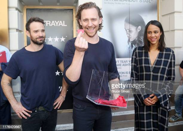 Charlie Cox Tom Hiddleston and Zawe Ashton auction off VIP tickets to their play Betrayal for The 32nd Annual Broadway Cares/Equity Fights AIDS Flea...