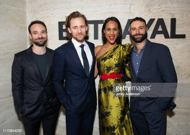 Charlie Cox Tom Hiddleston Zawe Ashton and Eddie Arnold attend the Broadway Opening Night of Betrayal at THE POOL in the Seagram Building on...