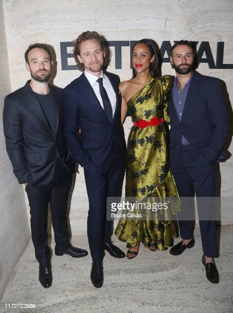 Charlie Cox Tom Hiddleston Zawe Ashton and Eddie Arnold pose at the Broadway Opening Night of Betrayal at THE POOL at the Seagram Building on...