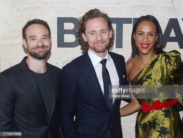 Charlie Cox Tom Hiddleston Zawe Ashton pose at The Opening Night Party for Betrayal on Broadway at THE POOL at the Seagram Building on September 5...