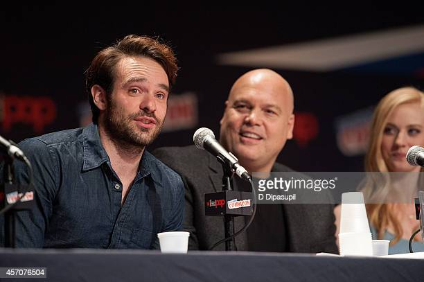 Charlie Cox Vincent D'Onofrio and Deborah Ann Woll attend the Netflix Original Series 'Marvel's Daredevil' New York ComicCon Panel Cast Signing at...
