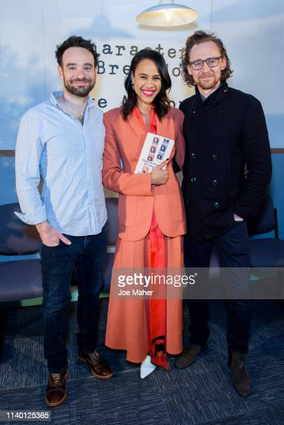 Charlie Cox Zawe Ashton and Tom Hiddleston at the Character Breakdown by Zawe Ashton book launch at Wild By Tart on April 03 2019 in London England