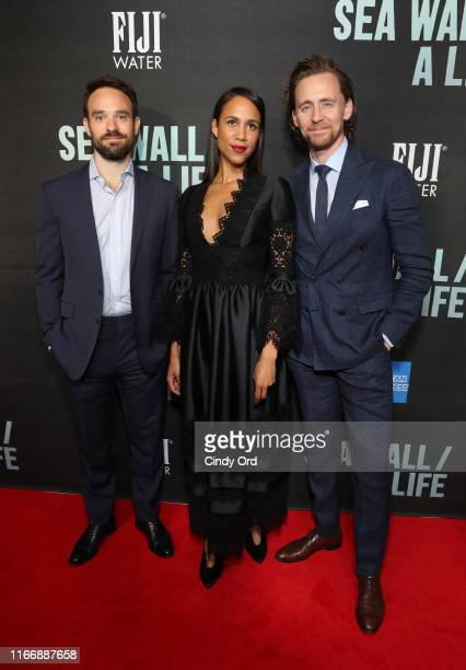 Charlie Cox Zawe Ashton and Tom Hiddleston attend FIJI Water At Sea Wall / A Life Opening Night On Broadway on August 08 2019 in New York City
