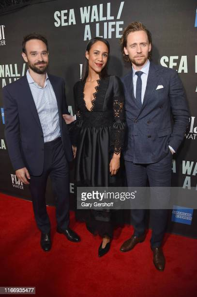Charlie Cox Zawe Ashton and Tom Hiddleston attend Sea Wall / A Life Broadway Opening Night at The Hudson Theatre on August 08 2019 in New York City