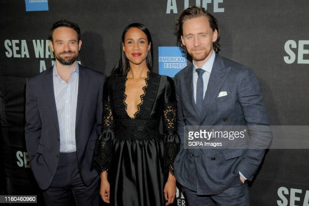 Charlie Cox Zawe Ashton and Tom HIddleston attend the Sea Wall / A Life Broadway Opening Night at the Hudson Theater in New York