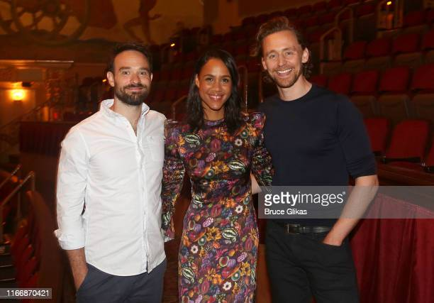 Charlie Cox Zawe Ashton and Tom Hiddleston pose at a photo call for the Harold Pinter play Betrayal on Broadway at The Jacobs Theater on August 8...
