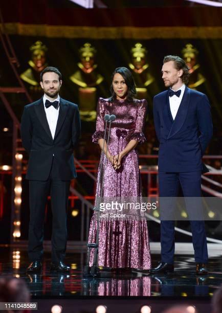 Charlie Cox Zawe Ashton and Tom Hiddleston present the Best Actress award on stage during The Olivier Awards 2019 with Mastercard at the Royal Albert...