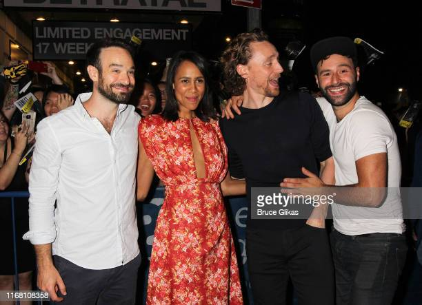 Charlie Cox Zawe Ashton Tom Hiddleston and Eddie Arnold greet and sign autographs for fans after the first public preview of Harold Pinter's classic...
