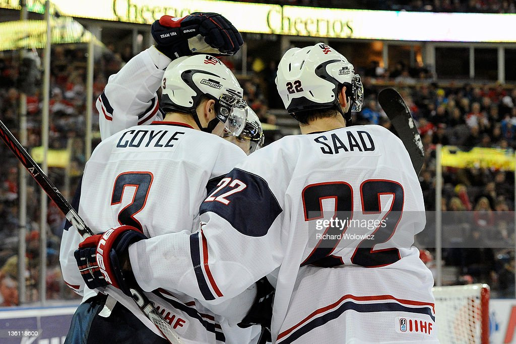 Charlie Coyle #3 of Team USA celebrates his third period goal and third of the night during the 2012 World Junior Hockey Championship game against Team Denmark at Rexall Place on December 26, 2011 in Edmonton, Alberta, Canada. Team USA defeated Team Denmark 11-3.