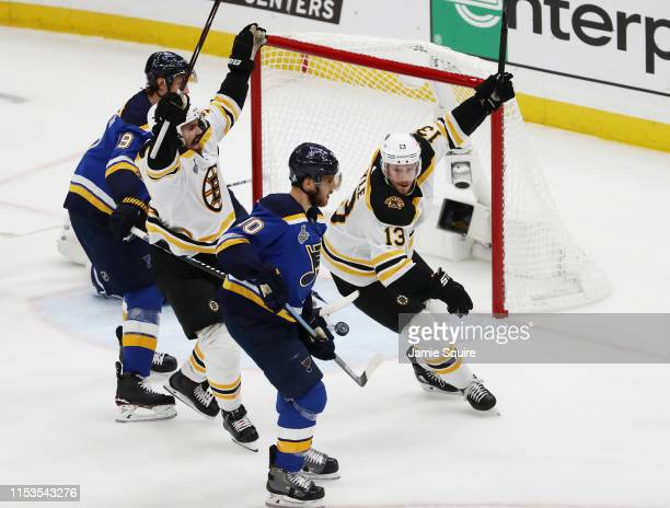 Charlie Coyle of the Boston Bruins celebrates after scoring a first period goal at 1314 against the St Louis Blues in Game Four of the 2019 NHL...