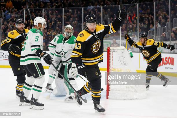 Charlie Coyle of the Boston Bruins celebrates after scoring a goal against the Dallas Stars during the first period at TD Garden on February 27, 2020...