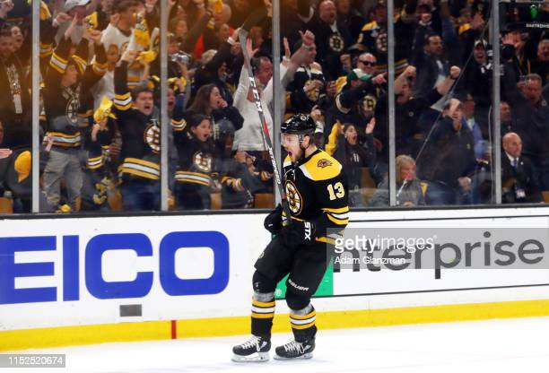 Charlie Coyle of the Boston Bruins celebrates his first period goal against the St Louis Blues in Game Two of the 2019 NHL Stanley Cup Final at TD...