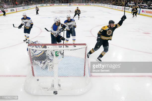 Charlie Coyle of the Boston Bruins scores a first period goal past Jordan Binnington of the St Louis Blues in Game Two of the 2019 NHL Stanley Cup...