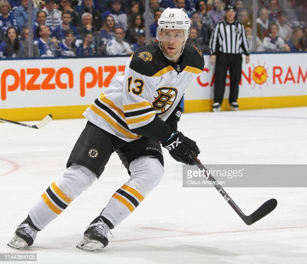 Charlie Coyle of the Boston Bruins skates against the Toronto Maple Leafs in Game Six of the Eastern Conference First Round during the 2019 NHL...