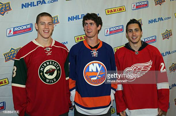 Charlie Coyle of the Minnesota Wild Brock Nelson of the New York Islanders and Tomas Jurco of the Detroit Red Wings meet with the media at the 2012...