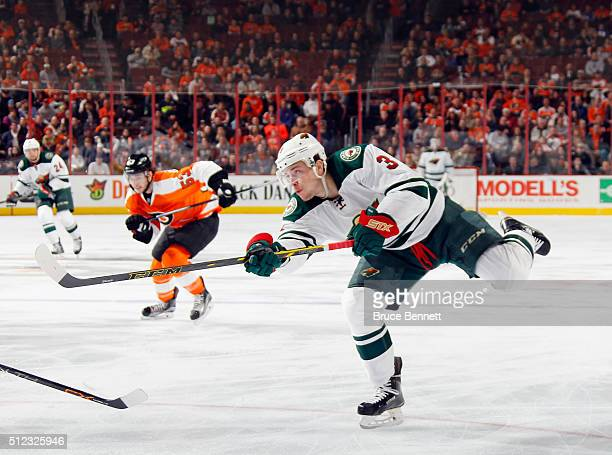 Charlie Coyle of the Minnesota Wild gets the shot off against the Philadelphia Flyers at the Wells Fargo Center on February 25 2016 in Philadelphia...