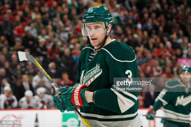 Charlie Coyle of the Minnesota Wild plays in his 284th consecutive game setting a team record against the Chicago Blackhawks on February 8 2017 at...