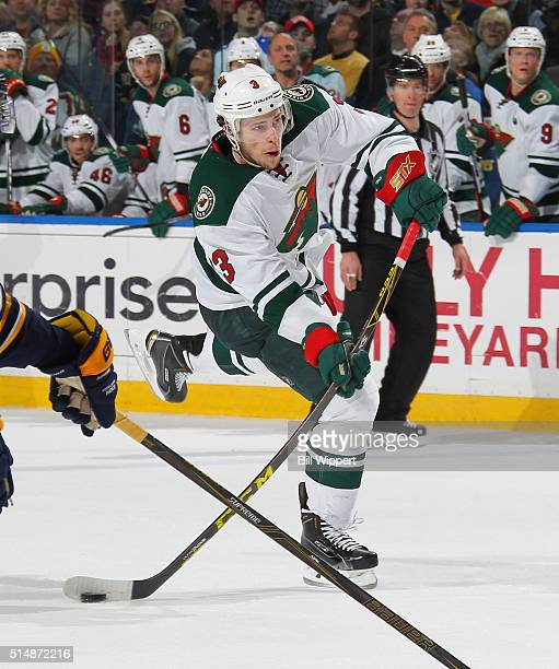 Charlie Coyle of the Minnesota Wild shoots the puck against the Buffalo Sabres during an NHL game on March 5 2016 at the First Niagara Center in...