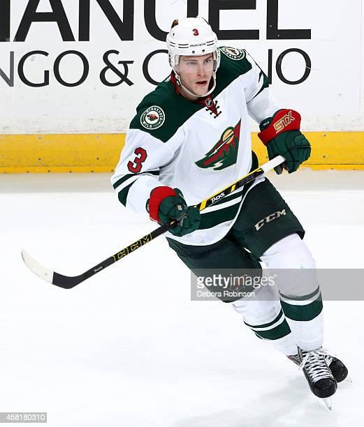 Charlie Coyle of the Minnesota Wild skates against the Anaheim Ducks on October 17 2014 at Honda Center in Anaheim California