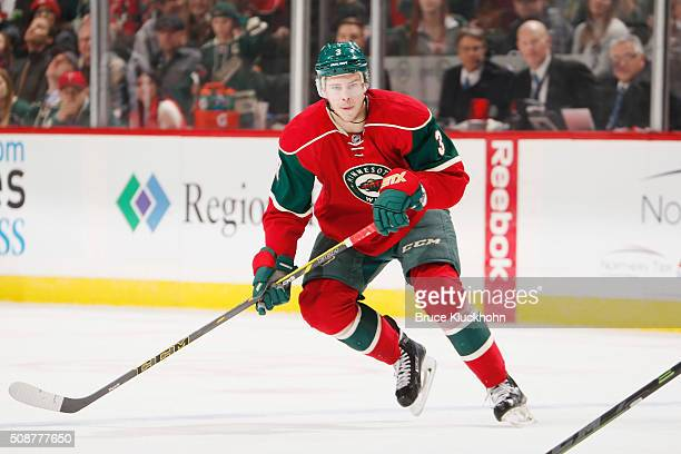 Charlie Coyle of the Minnesota Wild skates against the Arizona Coyotes during the game on January 25 2016 at the Xcel Energy Center in St Paul...