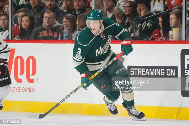Charlie Coyle of the Minnesota Wild skates against the Chicago Blackhawks during the game on February 21 2017 at the Xcel Energy Center in St Paul...