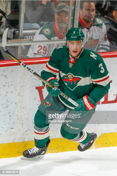Charlie Coyle of the Minnesota Wild skates against the Chicago Blackhawks during the game at the Xcel Energy Center on February 10 2018 in St Paul...