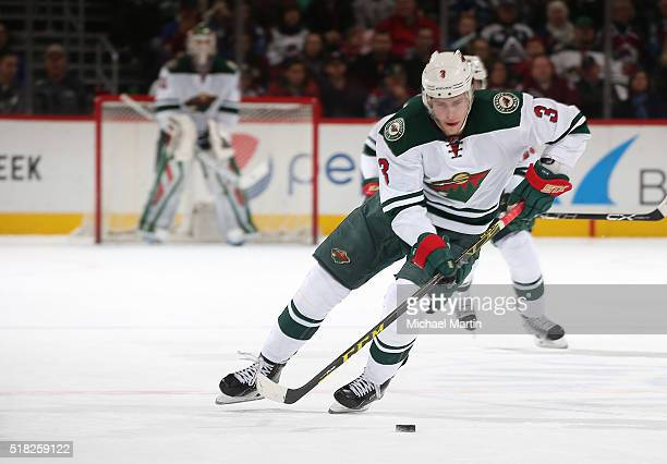 Charlie Coyle of the Minnesota Wild skates against the Colorado Avalanche at the Pepsi Center on March 26 2016 in Denver Colorado The Wild defeated...