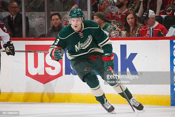 Charlie Coyle of the Minnesota Wild skates against the Colorado Avalanche during the game on December 5 2015 at the Xcel Energy Center in St Paul...