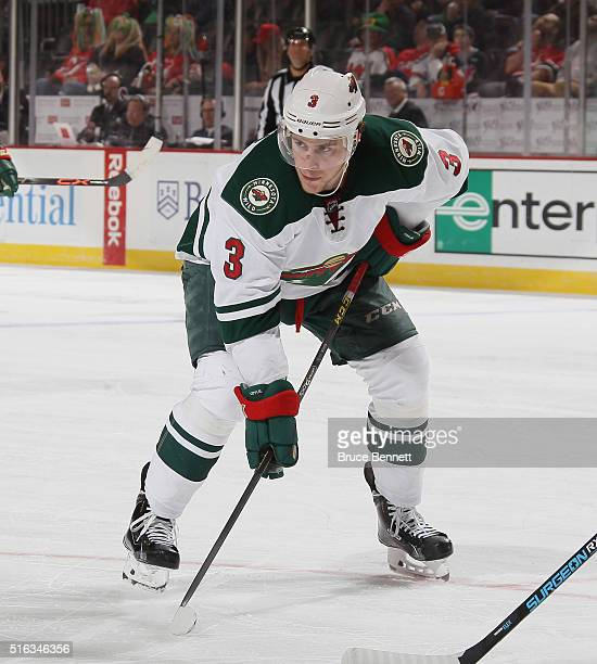 Charlie Coyle of the Minnesota Wild skates against the New Jersey Devils at the Prudential Center on March 17 2016 in Newark New Jersey The Devils...