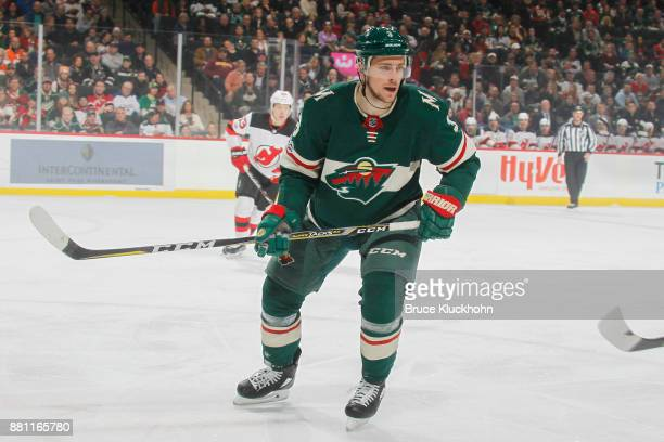 Charlie Coyle of the Minnesota Wild skates against the New Jersey Devils during the game at the Xcel Energy Center on November 20 2017 in St Paul...