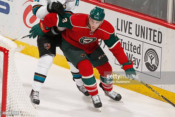 Charlie Coyle of the Minnesota Wild skates against the San Jose Sharks during the game on October 30 2014 at the Xcel Energy Center in St Paul...