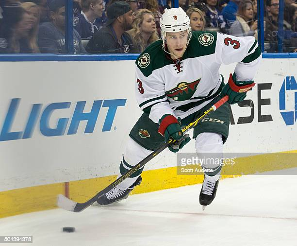 Charlie Coyle of the Minnesota Wild skates against the Tampa Bay Lightning at the Amalie Arena on January 2 2015 in Tampa Florida