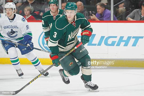 Charlie Coyle of the Minnesota Wild skates against the Vancouver Canucks during the game on November 25 2015 at the Xcel Energy Center in St Paul...