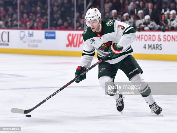 Charlie Coyle of the Minnesota Wild skates the puck against the Montreal Canadiens during the NHL game at the Bell Centre on January 7 2019 in...