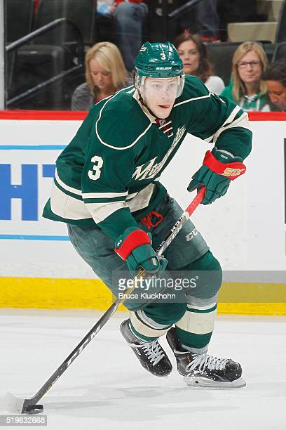 Charlie Coyle of the Minnesota Wild skates with the puck against the Chicago Blackhawks during the game on March 29 2016 at the Xcel Energy Center in...