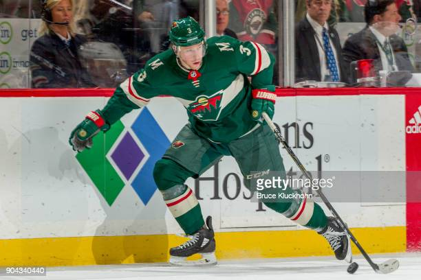Charlie Coyle of the Minnesota Wild skates with the puck against the Buffalo Sabres during the game at the Xcel Energy Center on January 4 2018 in St...