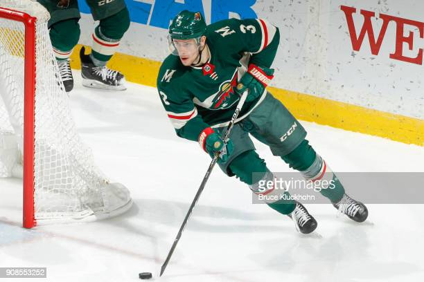 Charlie Coyle of the Minnesota Wild skates with the puck against the Winnipeg Jets during the game at the Xcel Energy Center on January 13 2018 in St...