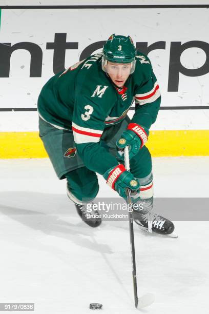 Charlie Coyle of the Minnesota Wild skates with the puck against the Arizona Coyotes during the game at the Xcel Energy Center on February 8 2018 in...