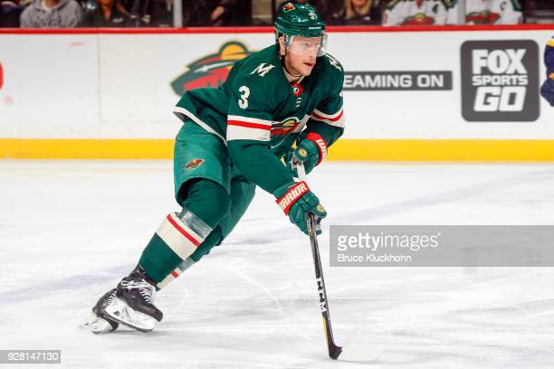 Charlie Coyle of the Minnesota Wild skates with the puck against the St Louis Blues during the game at the Xcel Energy Center on February 27 2018 in...