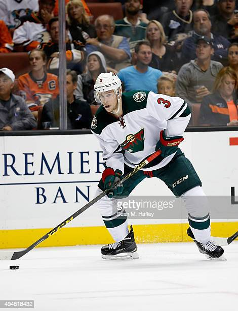 Charlie Coyle of the Minnesota Wild skates with the puck during the second period of a game against the Anaheim Ducks at Honda Center on October 18...