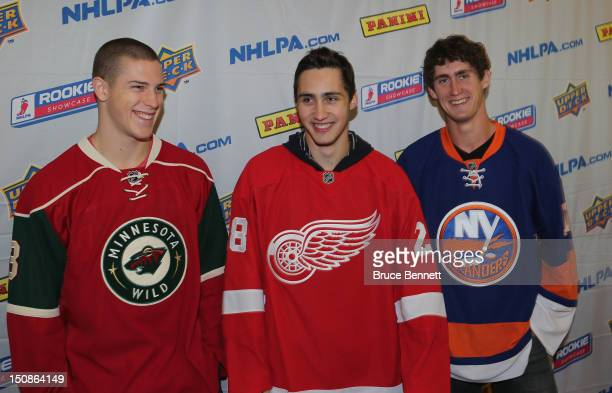 Charlie Coyle of the Minnesota Wild Tomas Jurco of the Detroit Red Wings and Brock Nelson of the New York Islanders meet with the media at the 2012...