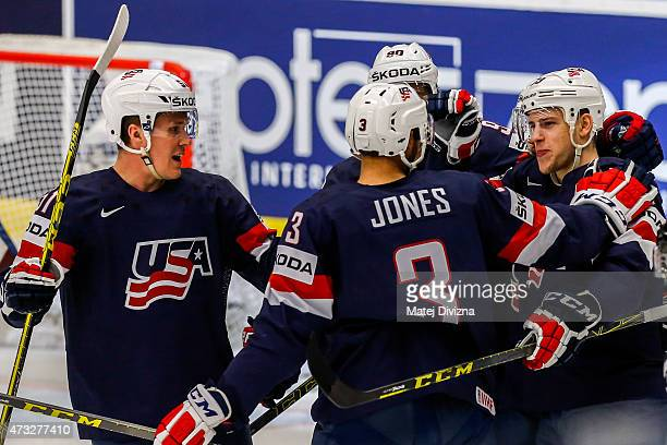 Charlie Coyle of USA celebrates his goal with his teammates during the IIHF World Championship quaterfinal match between USA and Switzerland at CEZ...