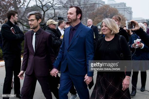 Charlie Craig walks with his mother Debbie Munn and spouse Dave Mullins to the US Supreme Court before Masterpiece Cakeshop vs Colorado Civil Rights...