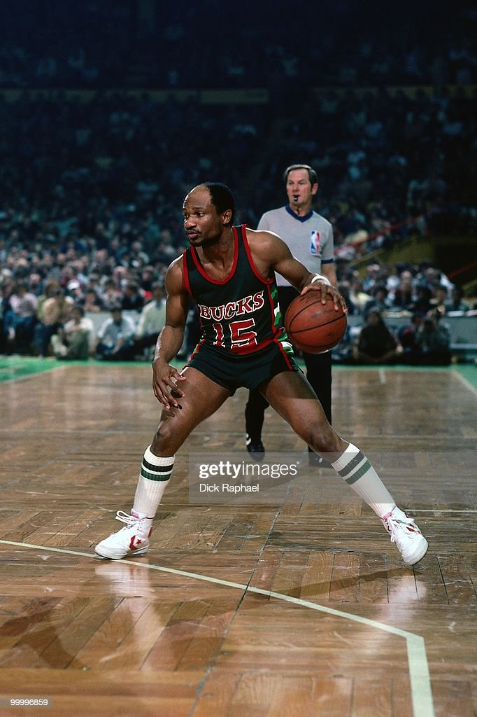 Charlie Criss #15 of the Milwaukee Bucks looks to make a move against the Boston Celtics during a game played in 1983 at the Boston Garden in Boston, Massachusetts.